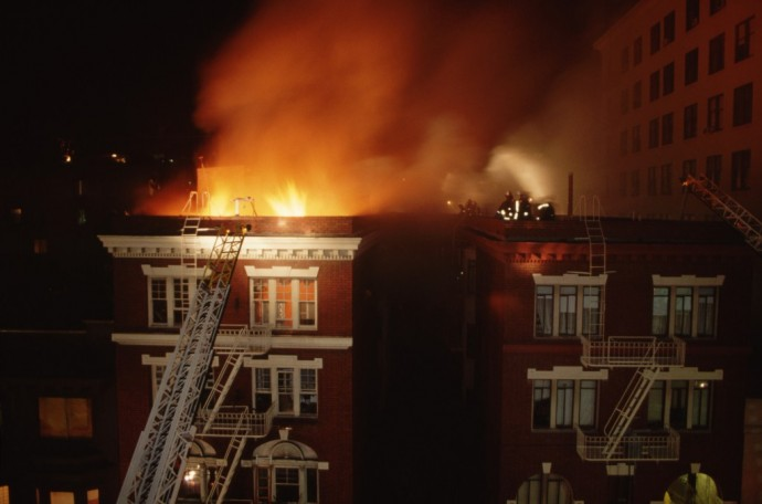 Flames Rage From an Apartment Building